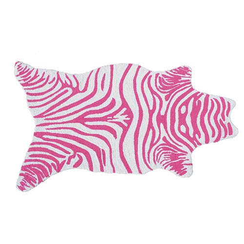 Mini Zebra Pink and White Rectangular: 2 Ft. 8 In. x 4 Ft. 8 In. Rug