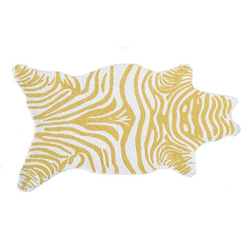 The Rug Market Mini Zebra Yellow and White Rectangular: 2 Ft. 8 In. x 4 Ft. 8 In. Rug