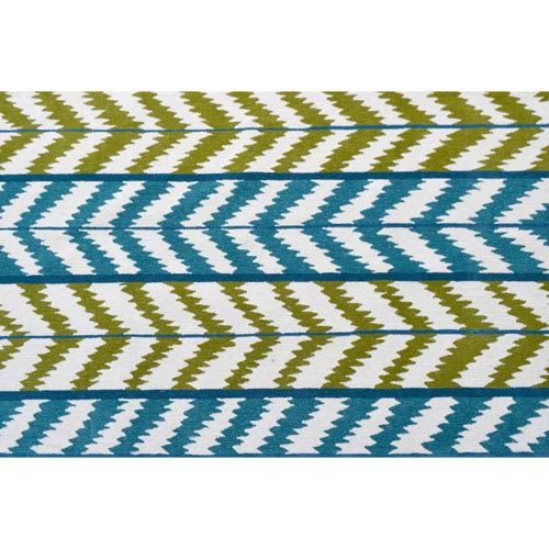 Resort Waterfall Green and Blue Rectangular: 5 Ft x 8 Ft Rug
