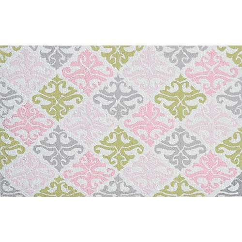 The Rug Market Damask Pink and Green Rectangular: 4 Ft. 7 In. x 7 Ft. 7 In. Rug