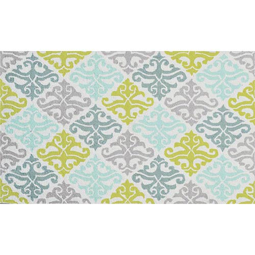 The Rug Market Damask Blue and Green Rectangular: 4 Ft. 7 In. x 7 Ft. 7 In. Rug