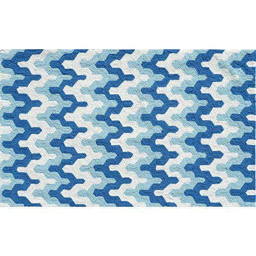 The Rug Market Surge Blue and Aqua Rectangular: 4 Ft. 7 In. x 7 Ft. 7 In. Rug