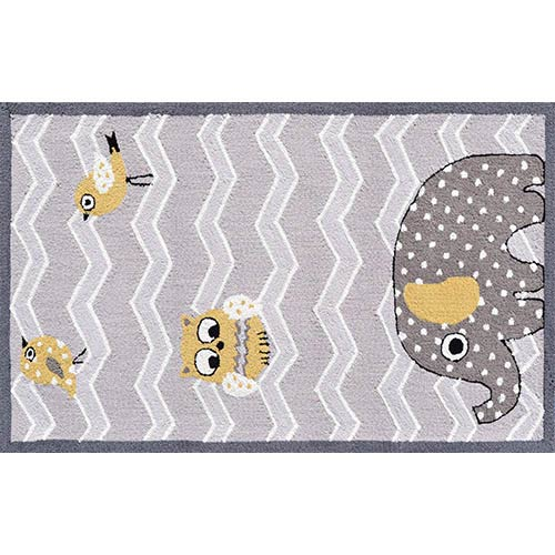 The Rug Market Animal Yellow and Gray Rectangular: 2 Ft. 8 In. x 4 Ft. 8 In. Rug