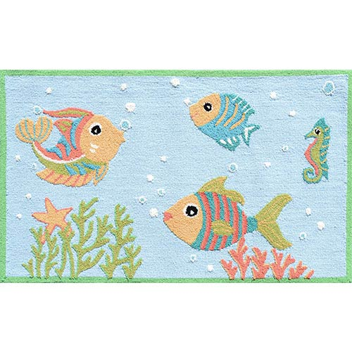 The Rug Market Aquatic Blue and Red Rectangular: 2 Ft. 8 In. x 4 Ft. 8 In. Rug