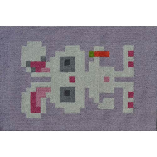 The Rug Market Pixel Bunny Gray and Pink Rectangular: 2 Ft. 8-inch x 4 Ft. 8-inch Area Rug