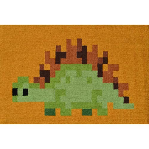 Pixel Dino Green and Brown Rectangular: 2 Ft. 8-inch x 4 Ft. 8-inch Area Rug