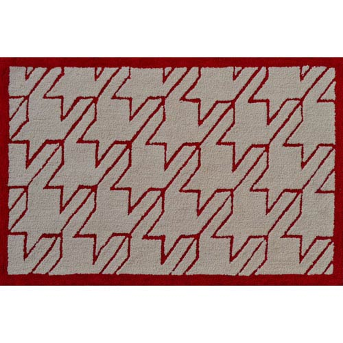 Fresh Houndstooth Red Rectangular: 2 Ft. 8-inch x 4 Ft. 8-inch Area Rug