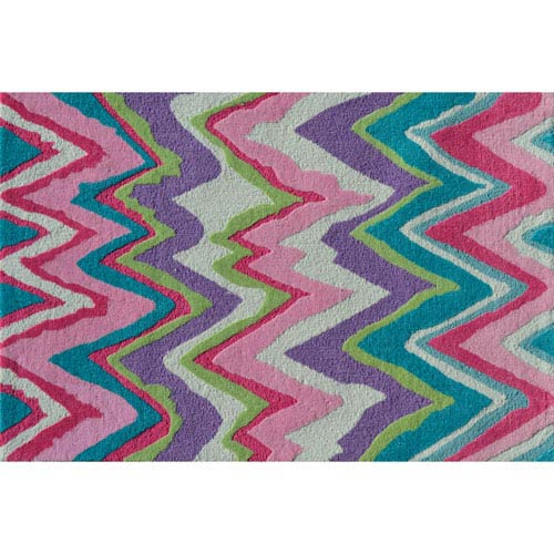 Chevron Pink Multicolor Rectangular: 2 Ft. 8-inch x 4 Ft. 8-inch Area Rug