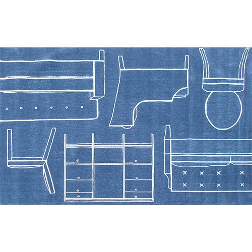 Whimsical Blue Rectangular: 5 Ft. x 7 Ft. 6 In. Rug