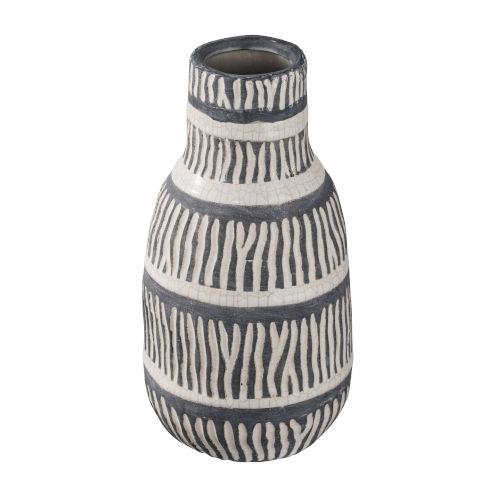 Tan and Black 11-Inch Ceramic Vase