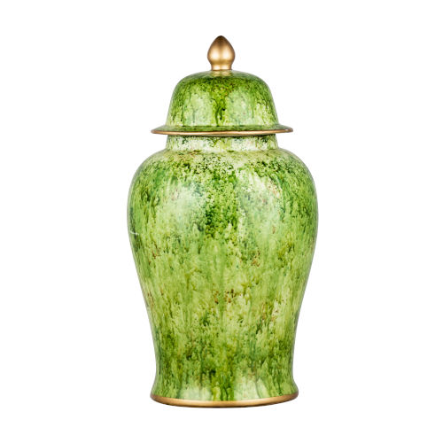 Green Round Painted Jar with Lid