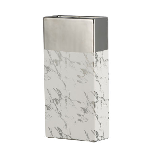 Silver and White 12-Inch Ceramic Vase