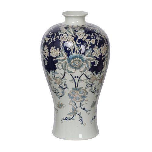 Bryn Blue, Gold And White Ceramic Urn