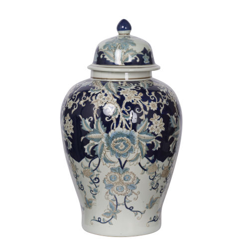 Bryn Blue, Gold And White Ginger Jar