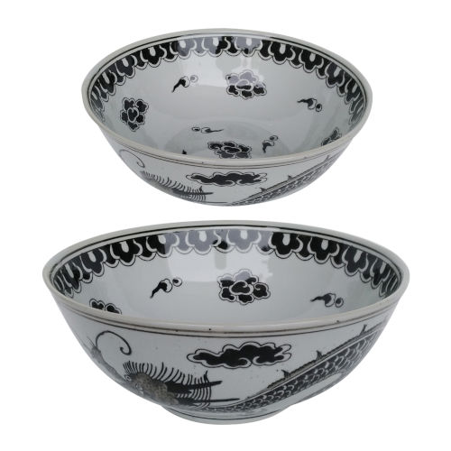 Dorete White And Black Nested Decorative Bowl, Set of 2