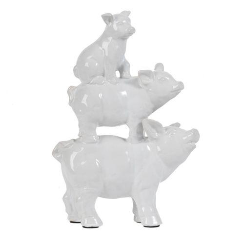 White Ceramic Pig Figurine