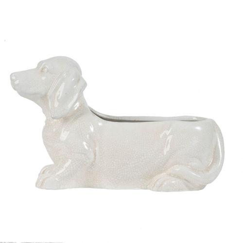 White Ceramic Dog Indoor Planter