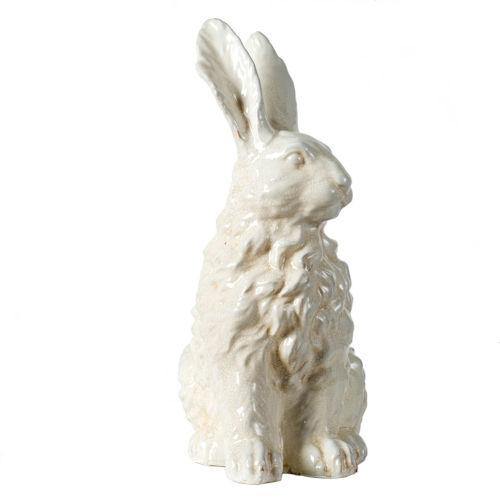 White 13-Inch Ceramic Bunny Figurine
