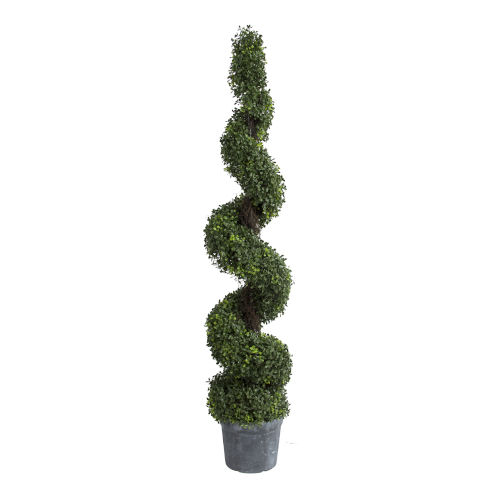 Green 60-Inch Spiral Boxwood Potted Topiary