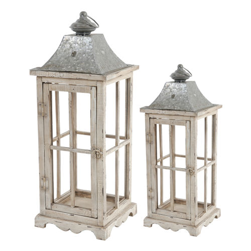 Evelyn Silver And White Wash Square Lantern, Set of 2