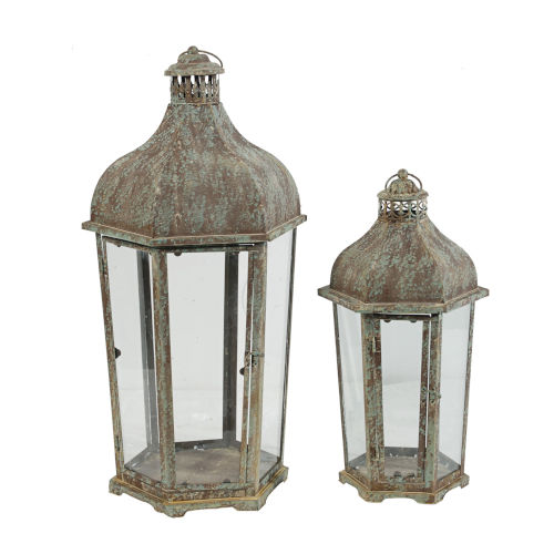 Armand Brown And White Carriage Candle Lantern, Set of 2