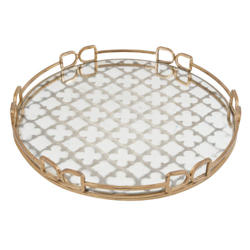 Valentina Vintage Gold Decorative Tray, Large