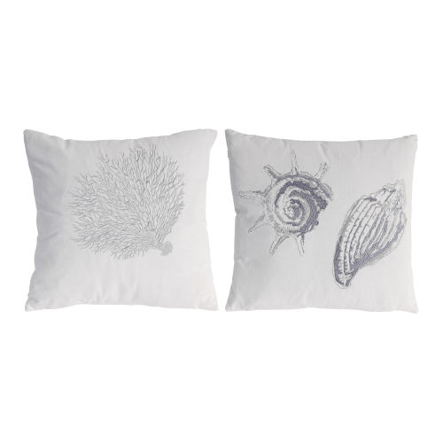 White And Silver Seashell Pillow, Set of 2