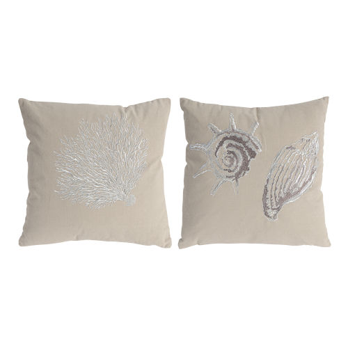 Tan And White Seashell Pillow, Set of 2