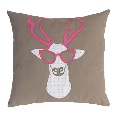 Brown And Pink Deer With Sunglass Pillow