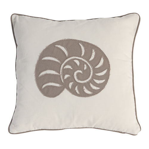 White And Brown Seashell Pillow