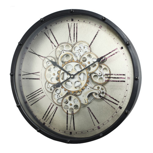 Black Roman Number Gear Wall Clock