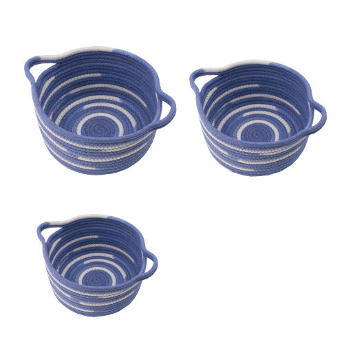 Blue and White Round Basket with Handles, Set of 3