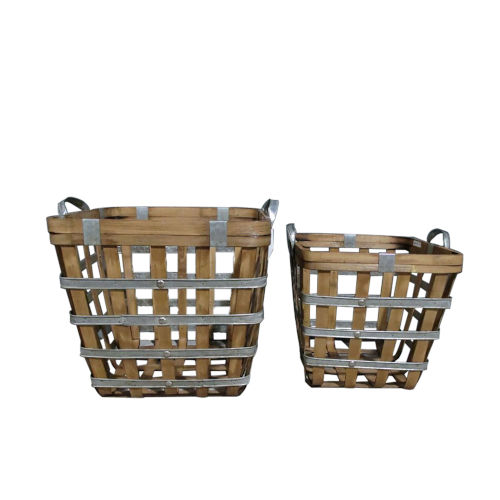 Natural And Silver Square Woven Basket, Set of 2