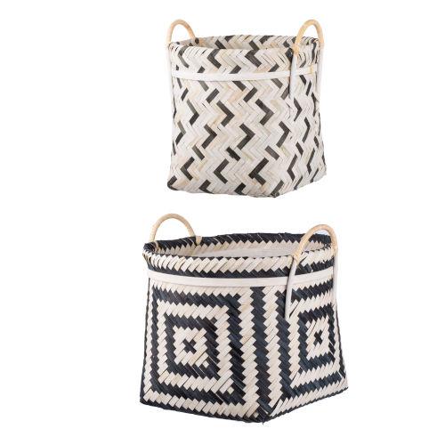 Black And White Geometric Basket, Set of 2