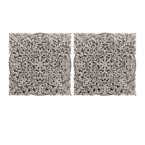 White Carved Out Wall Decor, Set of 2