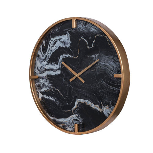 Black and Brass Wall Mounted Clock