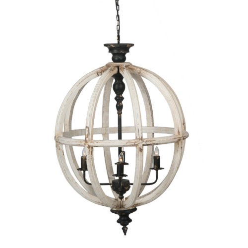 Distressed White 24-Inch Four-Light Chandelier