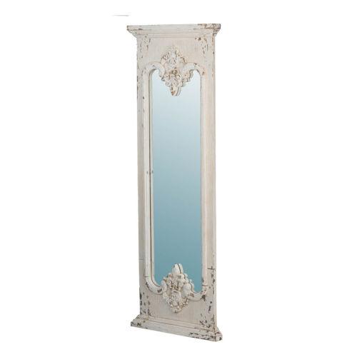 Distressed White Fleur De Lis Wall Mirror