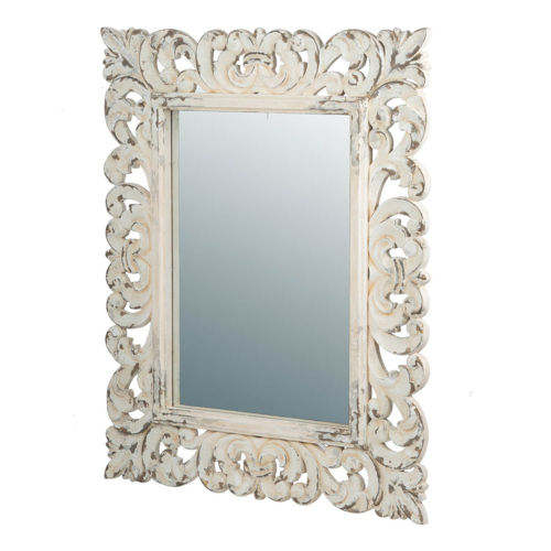 Antique White Rectangle Scrollwork Wall Mirror