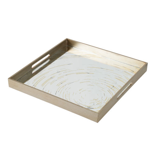 Gold and Mirror Square Decorative Tray with Moroccan Pattern
