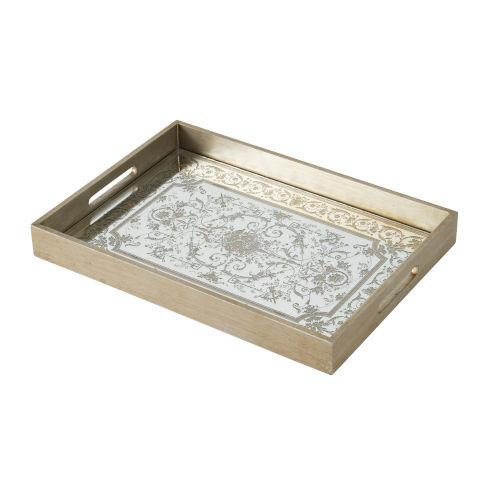 Gold and Mirror Decorative Tray with Floral Design