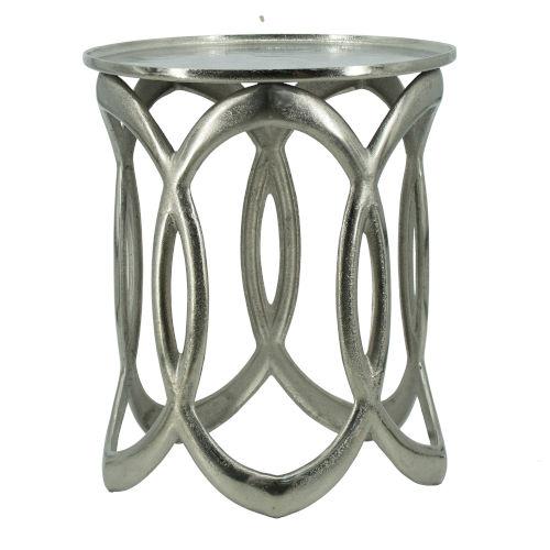 Polished Nickel Round Nesting Side Table, Set of 2