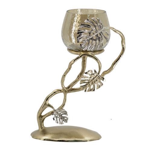 Gold Palm Pillar Candle Holder