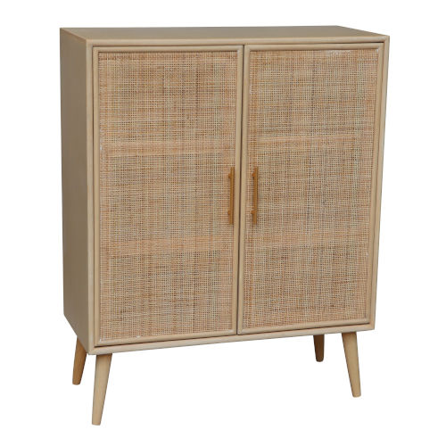 Natural Mid-Cenyury Two-Door Wood Cabinet