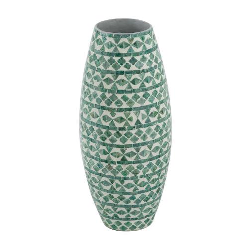 Green Round Tall Capiz Vase