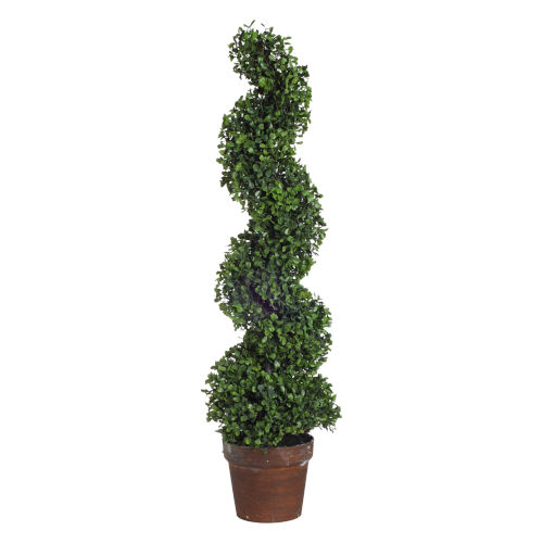 Green Potted Spiral Faux Boxwood