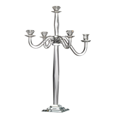 Obelix Clear Five-Candle Crystal Candelabra