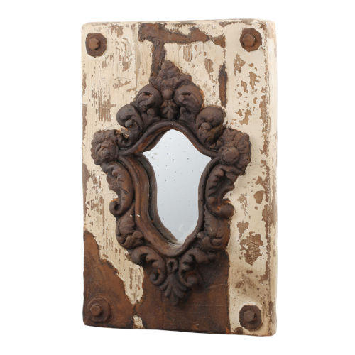 Acantha Weathered White And Rust Wall Mirror