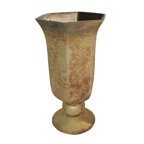 Gold Foil Six-Sided Vase with Round Base