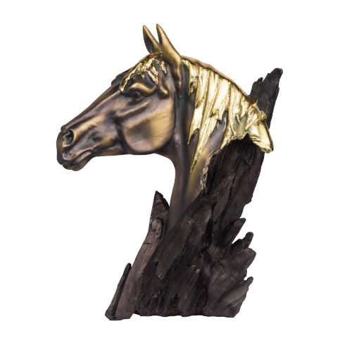 Bronze and Carbon Black Horse Head Stand